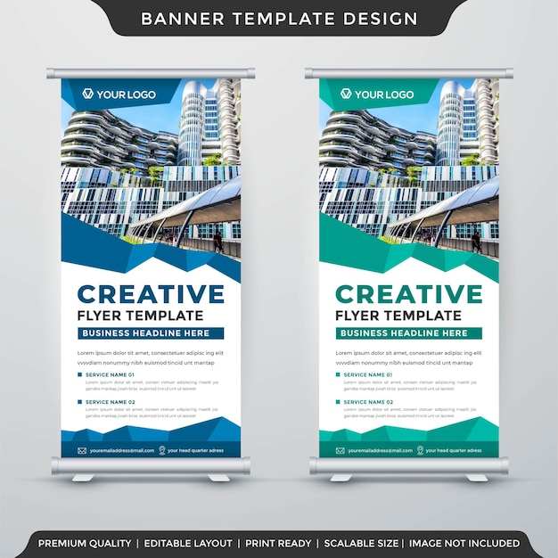 Business stand banner template layout premium style