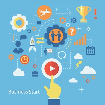 Business start infographics composition. scheme with humans