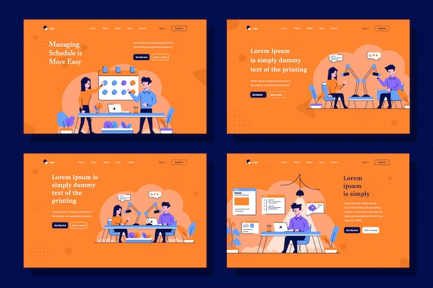 Business, start up and broadcast landing page illustration in flat and outline design style