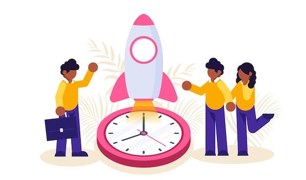 起業。ビジネスマンと女性は時計の背景にロケットを開始します。