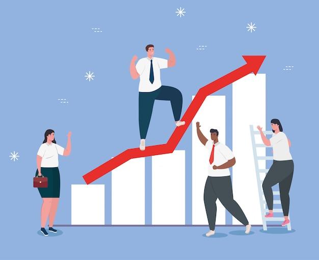 Концепция запуска бизнеса, баннер, бизнес-процесс запуска объекта, деловые люди с графикой и стрелка вверх
