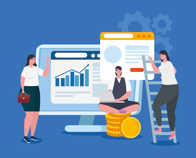 Концепция запуска бизнеса, баннер, процесс запуска бизнес-объекта, деловые женщины, компьютер с кучей монет и веб-страницами
