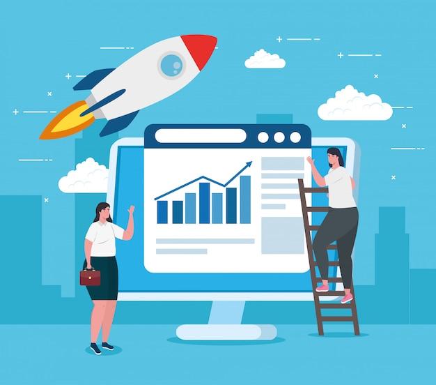 Концепция запуска бизнеса, баннер, бизнес-процесс запуска объекта, деловые женщины, компьютер с веб-страницей и ракета