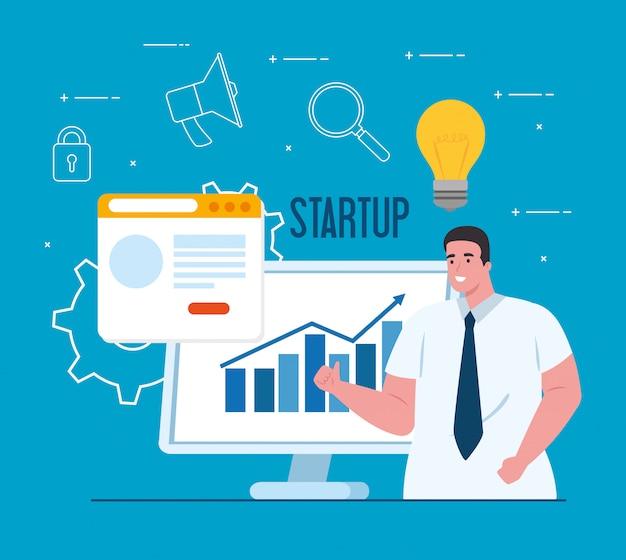 Концепция запуска бизнеса, баннер, бизнес-процесс запуска объекта, бизнесмен с компьютером и веб-страниц