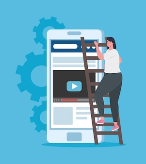 Концепция запуска бизнеса, баннер, бизнес-процесс запуска объекта, предприниматель в лестнице с смартфон