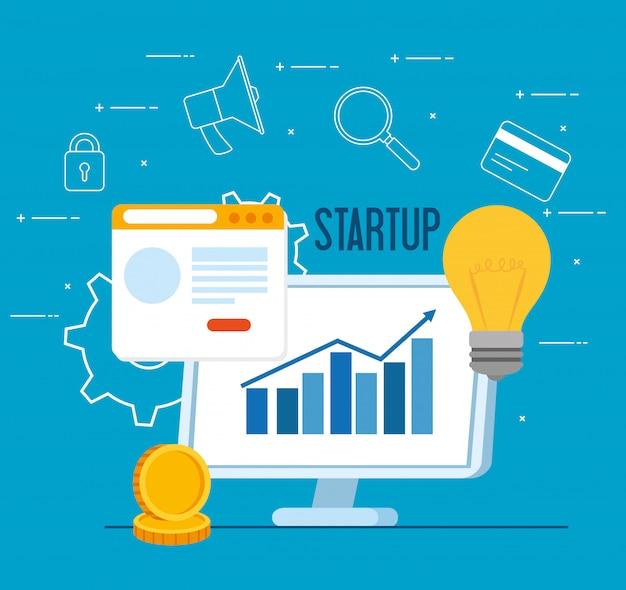 ビジネススタートアップコンセプト、バナー、ビジネスオブジェクトの起動プロセス、webページとビジネスアイコンを持つコンピューター