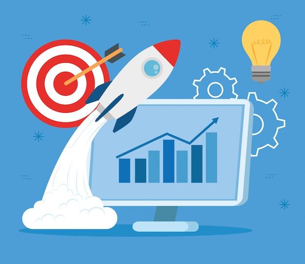 사업 개념, 배너, 비즈니스 개체 시작 프로세스, 컴퓨터 및 비즈니스 아이콘 로켓
