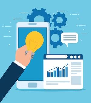 Концепция запуска бизнеса, баннер, процесс запуска бизнес-объекта, смартфон с веб-страницей и лампочка