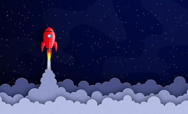 비즈니스 시작 개념 우주선은 별과 행성 사이의 별이 빛나는 공간에서 날아갑니다.