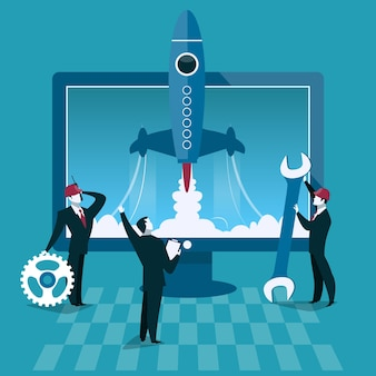 Business start up concept vector illustration rocket launch and computer on background businessman s...