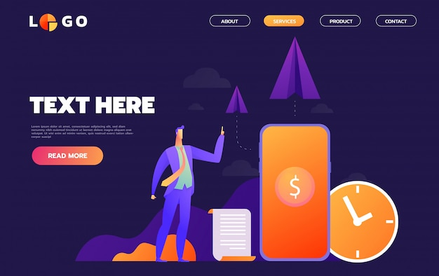 Business start up concept for web page.   illustration, business project startup process, idea through planning and strategy, time management, realization.