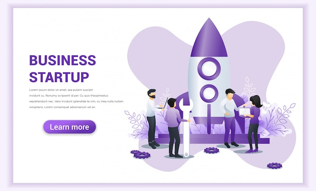Business start up concept with people work near a rocket ready getting launch