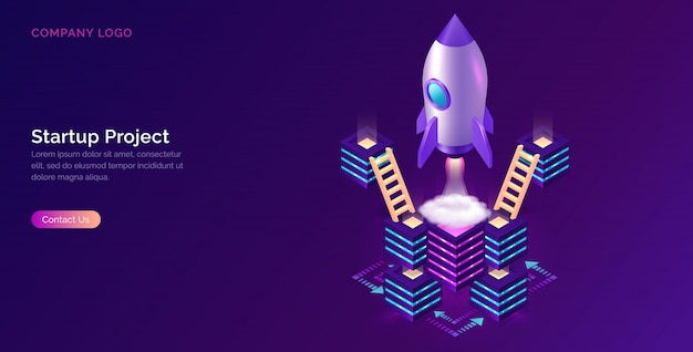 Business start up, cooperation, support isometric