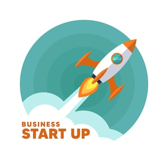 Business start up. flat rocket icon.