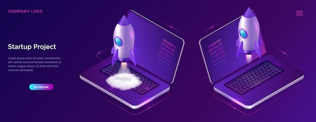 Business start up isometric concept with rocket