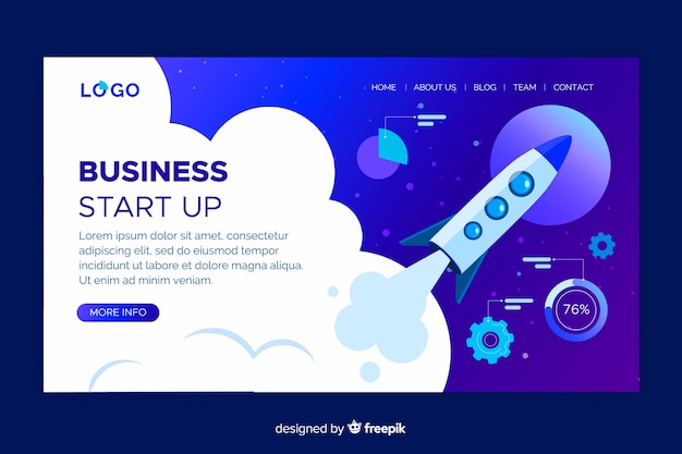 Business start up landing page design