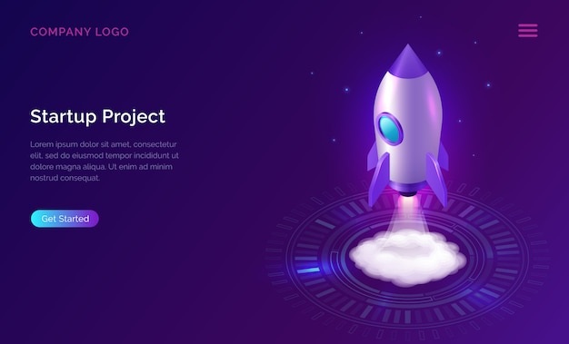 Business start up landing page, isometric rocket