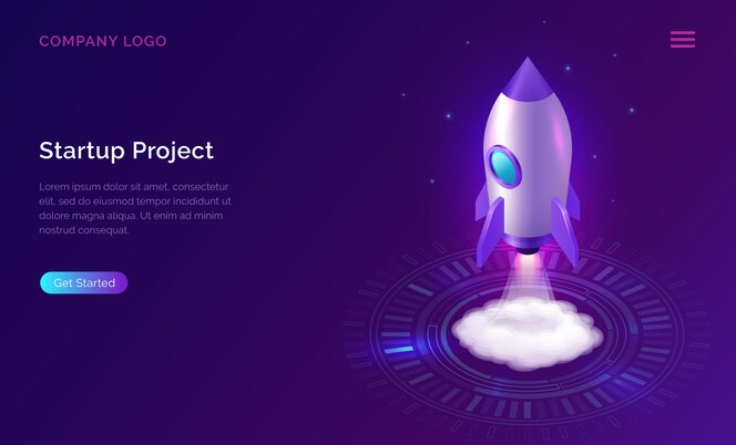 Business start up landing page, isometric rocket