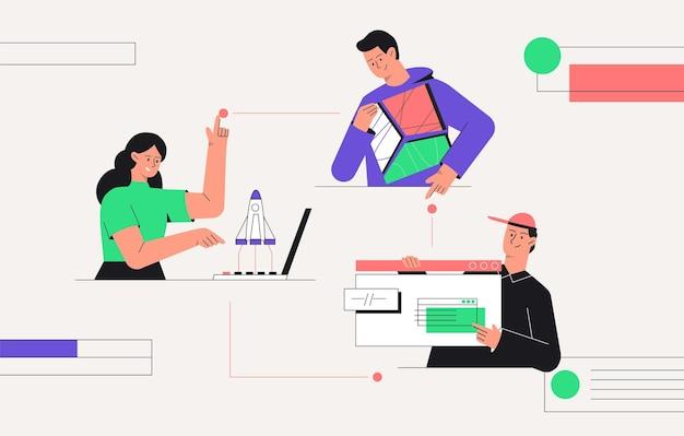 Запуск бизнеса, работа в команде, бизнес-концепция.