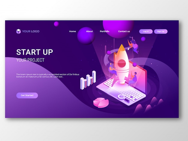Business start up отзывчивая целевая страница или дизайн баннера.