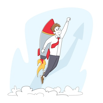 Business startup, career boost, and growth concept. cheerful businessman flying off with jet pack