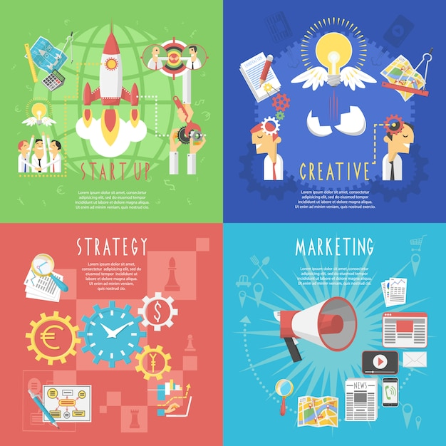 Business startup concept 4 flat banner