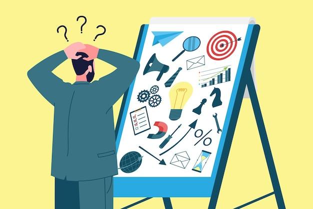 비즈니스 시작 개념입니다. 초보 사업가는 사업을 시작하고 모든 요소를 결합하는 방법을 잃어버리고 계획하고 생각합니다. 초기 단계의 기업가 활동 조직.