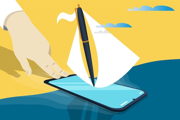 Business startup concept, banner, presentation, social media. metaphor the process of launching a business project as a ship sailing in a big voyage, investment, venture investment, business angel.