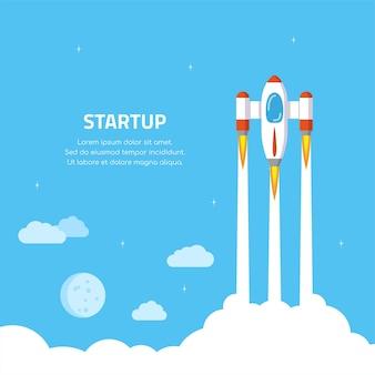 Баннер концепции запуска бизнеса. запуск ракеты. плоский стиль иллюстрации.