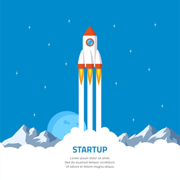 起業コンセプトバナー。ロケット打ち上げ。フラットスタイルのイラスト。