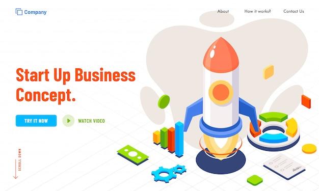 Business startup concept based creative landing page design.