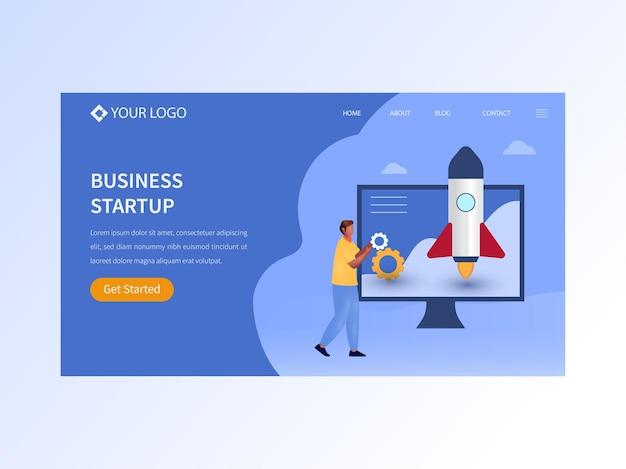 Целевая страница на основе концепции запуска бизнеса в синем цвете для роста и успеха компании.