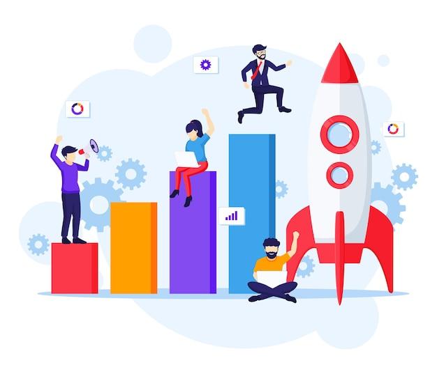 ビジネススタートアップの概念、ロケットを実行し、目標の図に移動するビジネスマン