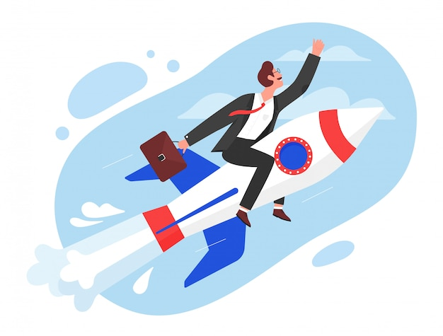 Business startup concept illustration. cartoon flat superhero businessman character flying in sky on fast rocket, start new idea project, boost success in job or career growth isolated