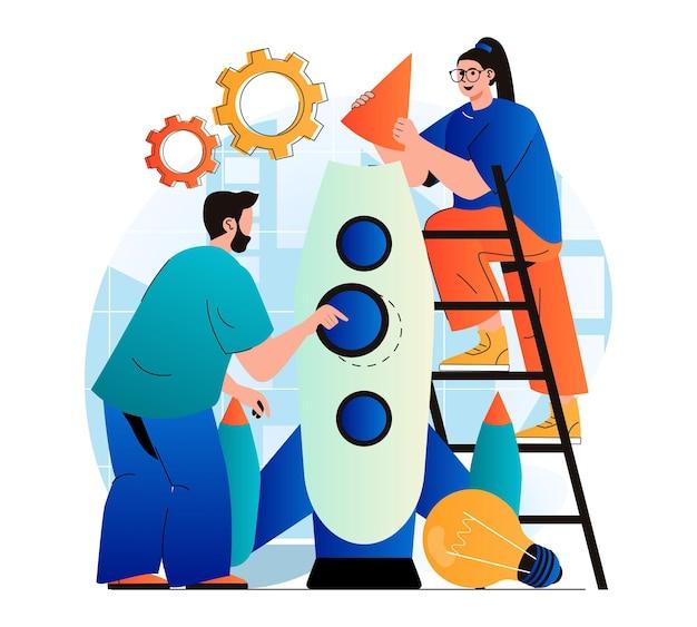 현대 평면 디자인의 비즈니스 시작 개념 성공 팀이 새로운 프로젝트를 시작합니다.
