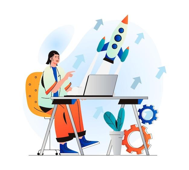 현대 평면 디자인의 비즈니스 시작 개념 여성은 새로운 프로젝트 작업을 시작합니다.