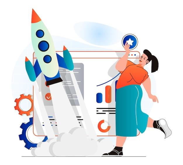 현대 평면 디자인의 비즈니스 시작 개념 여성이 새로운 프로젝트를 시작합니다.
