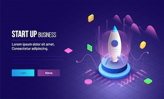 Business Startup concept landing page design