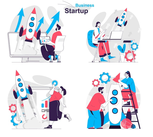 Business startup concept set successful launch new project company development