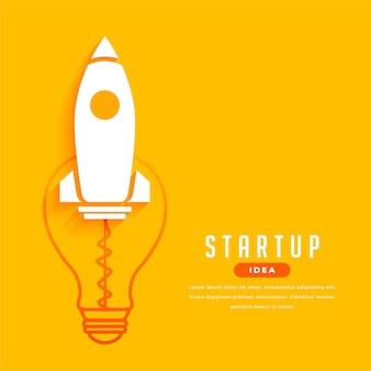 로켓 및 전구 디자인으로 비즈니스 시작 개념