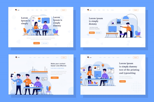 Business, startup and content creator landing page illustration in flat and outline design style