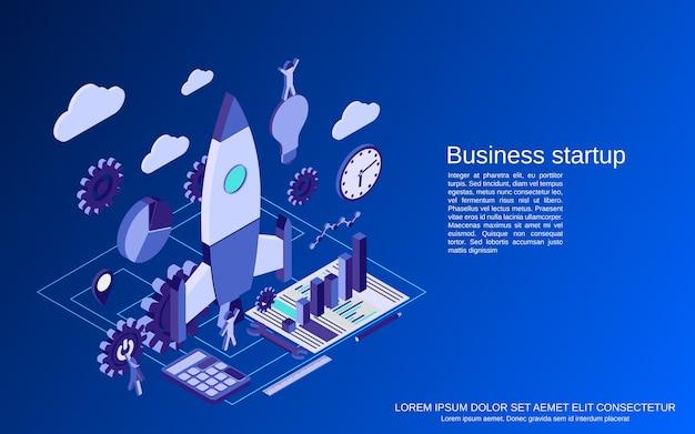 사업 시작 평면 3d 아이소 메트릭 개념 그림