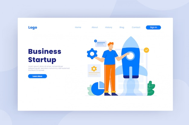 Business startup in flat design concept illustration