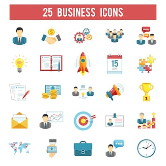 Business startup flat icons set