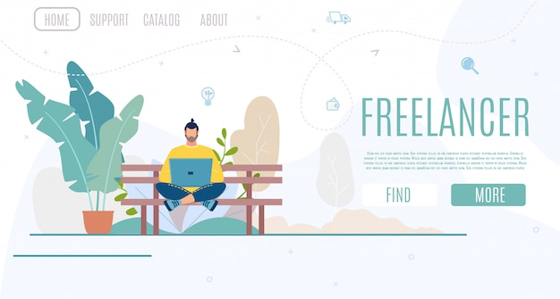 Business startup for freelance work vector website