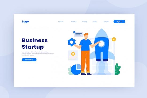 Запуск бизнеса в плоской иллюстрации концепции дизайна