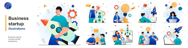 Business startup isolated set successful development of new business idea of scenes in flat design