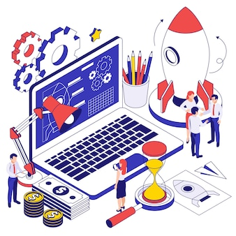 Business startup isometric design concept with hi tech program app on laptop screen rocket and gears icons illustration