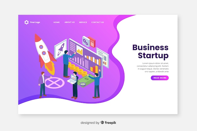 Business startup isometric landing page