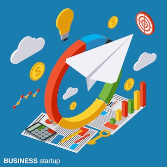 Business startup isometric vector concept illustration